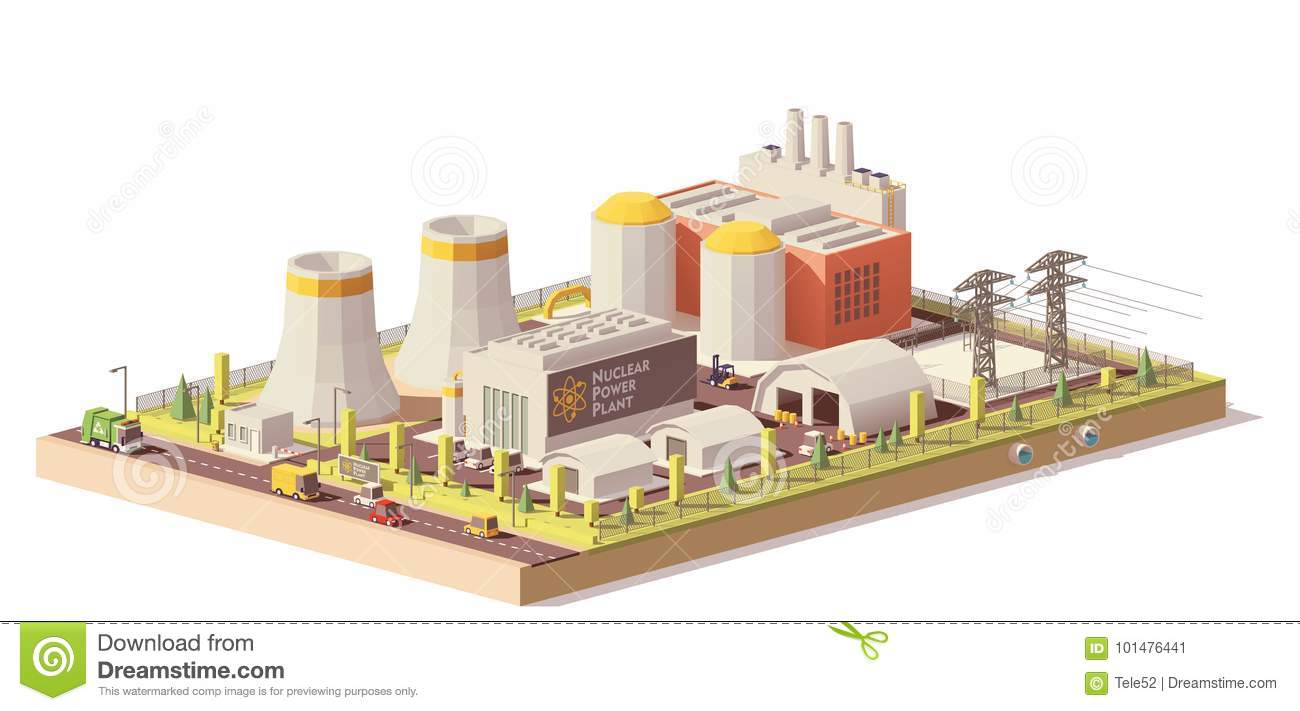 hight resolution of vector low poly nuclear power plant