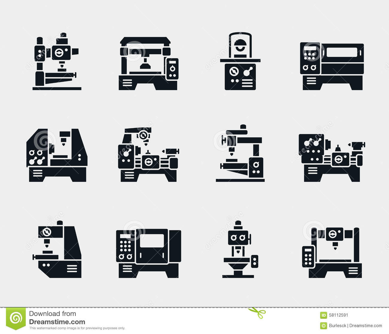 Vector Machine Tool Icons Set Stock Vector
