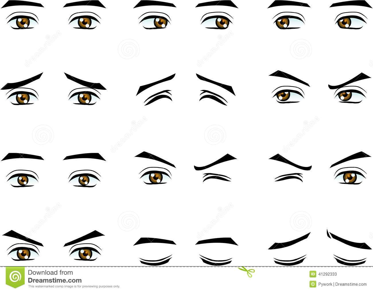 Vector Male Eyes In Different Emotion Stock Vector