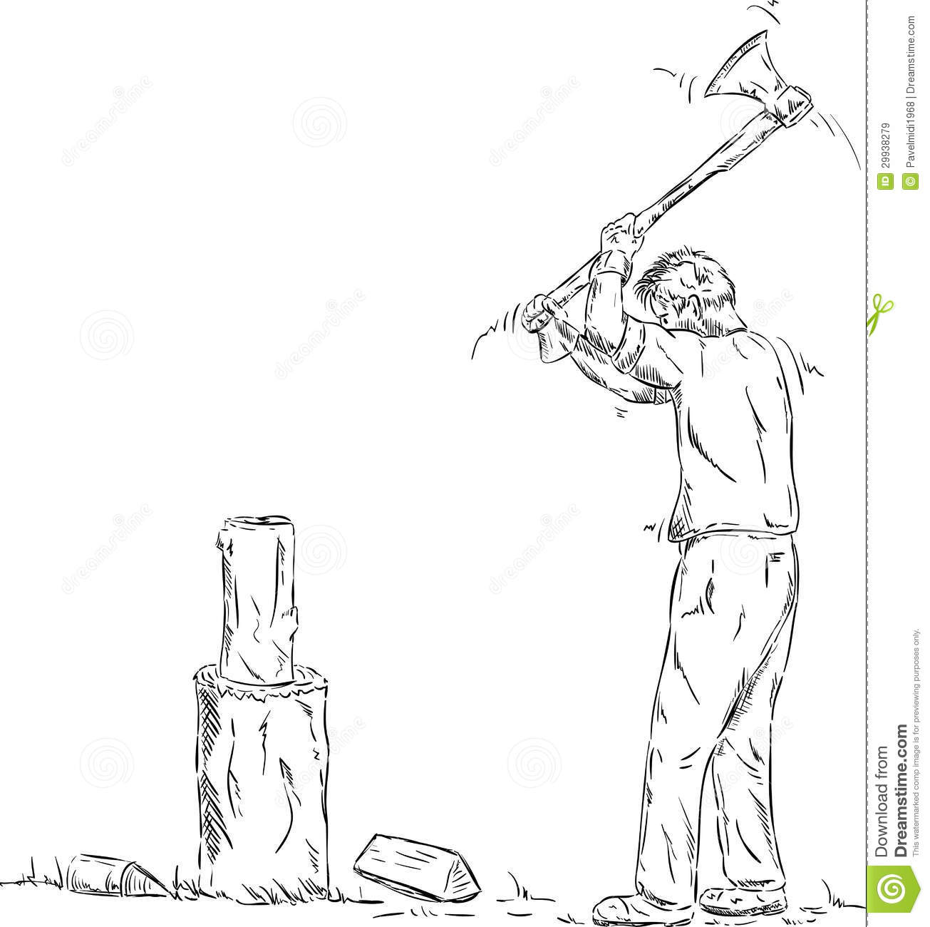 Wood Cutter Stock Vector Illustration Of Wood Male