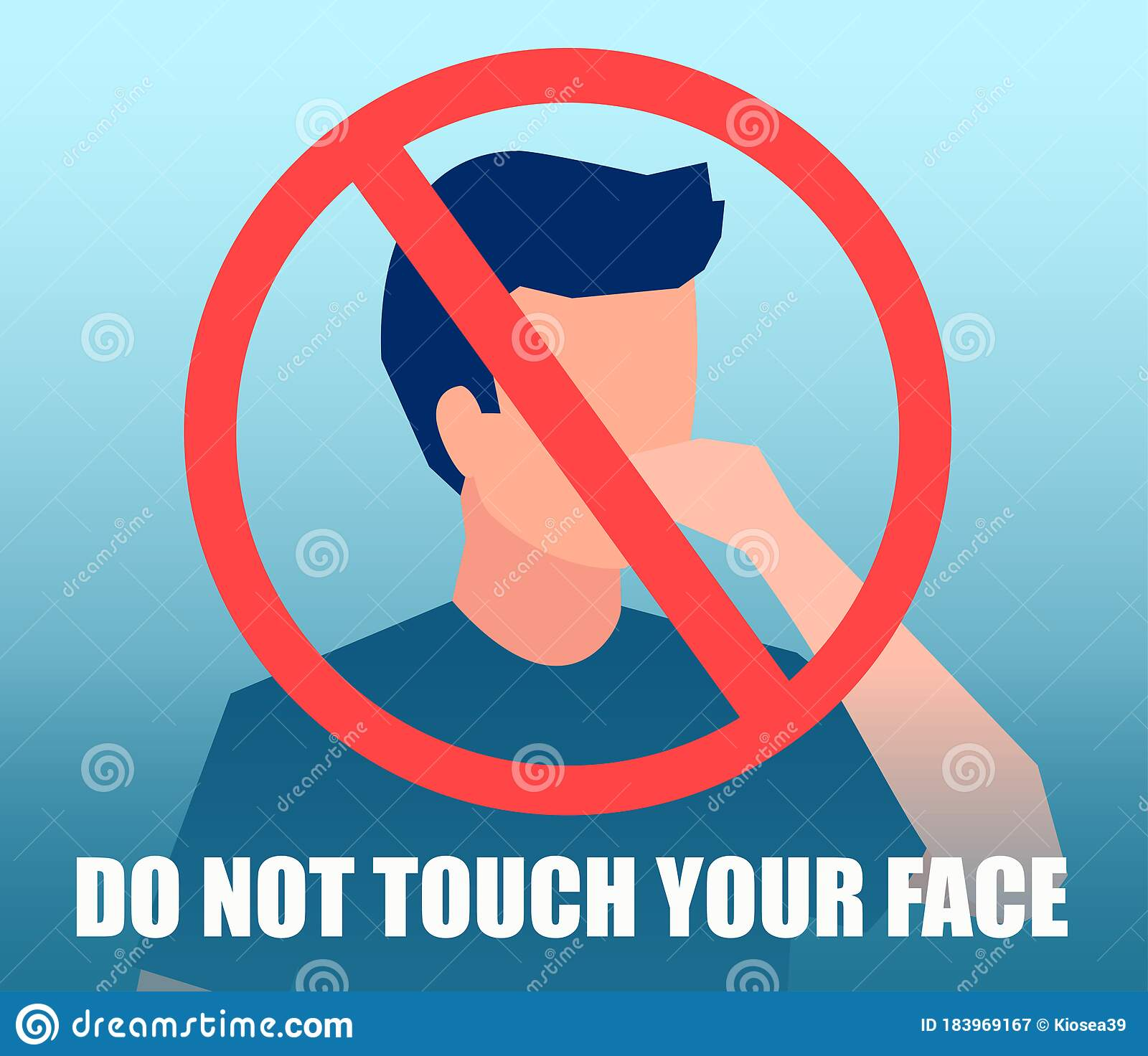 Vector Of A Man Touching His Face With Hand And Alert Sign