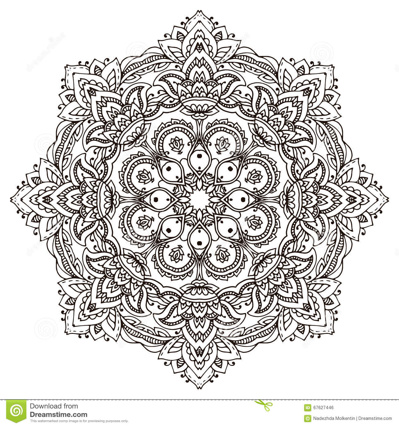 Vector Mandala With Hand Drawn Floral Henna Elements