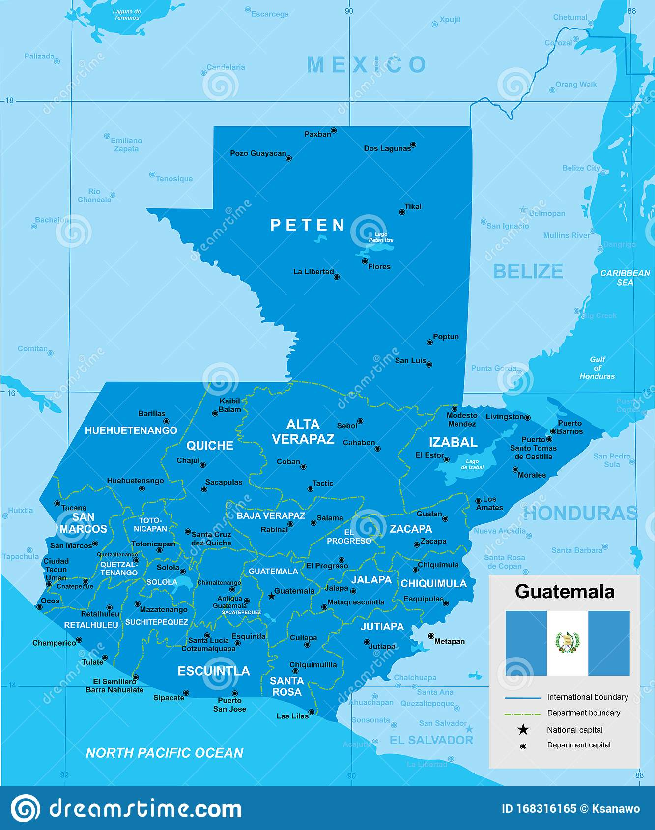 Vector Map Of Guatemala Stock Vector Illustration Of