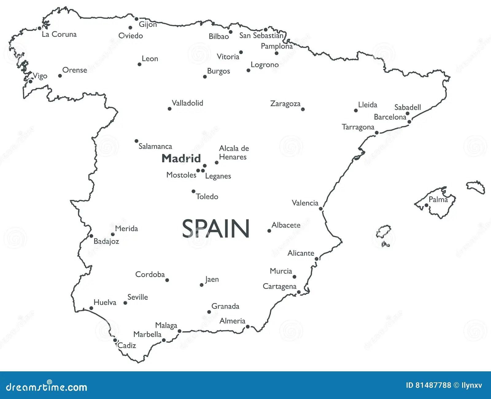 Vector Map Of Spain Stock Vector Illustration Of Cadiz