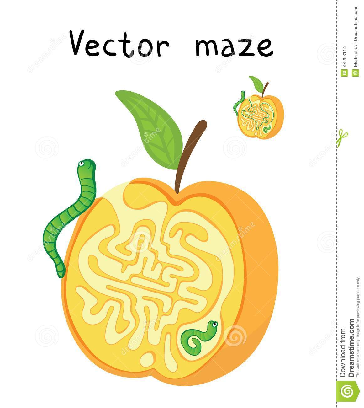Vector Maze Labyrinth With Apple And Worms