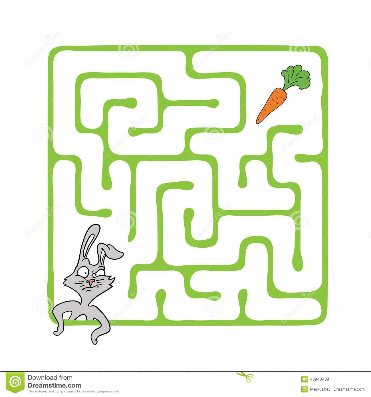 Vector Maze Labyrinth With Rabbit And Carrot Stock