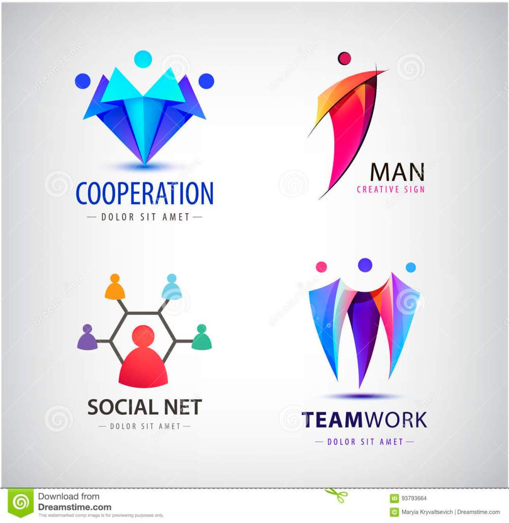 medium resolution of vector men group logo human family teamwork social net leader icon community people sign in modern style colorful 3 person