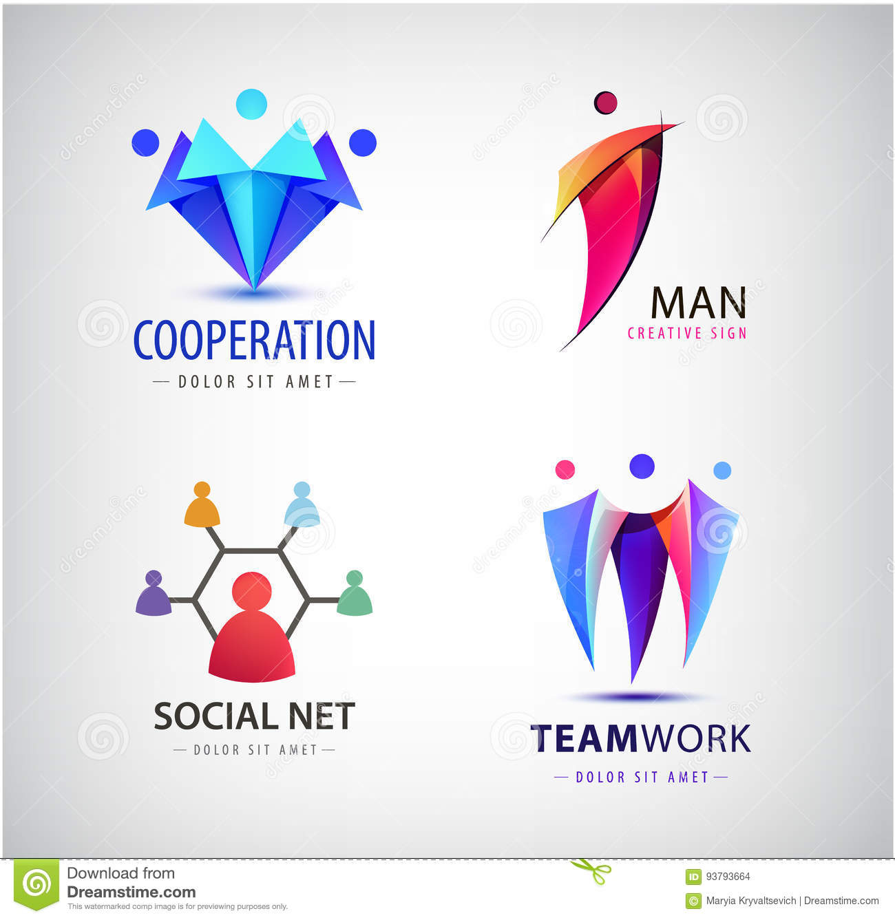 hight resolution of vector men group logo human family teamwork social net leader icon community people sign in modern style colorful 3 person