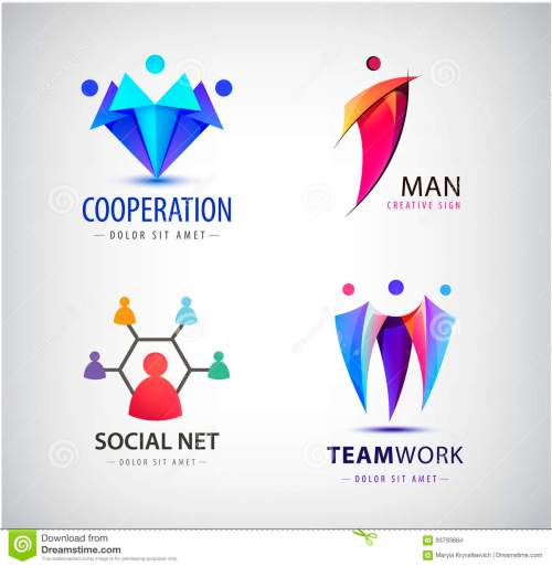 small resolution of vector men group logo human family teamwork social net leader icon community people sign in modern style colorful 3 person