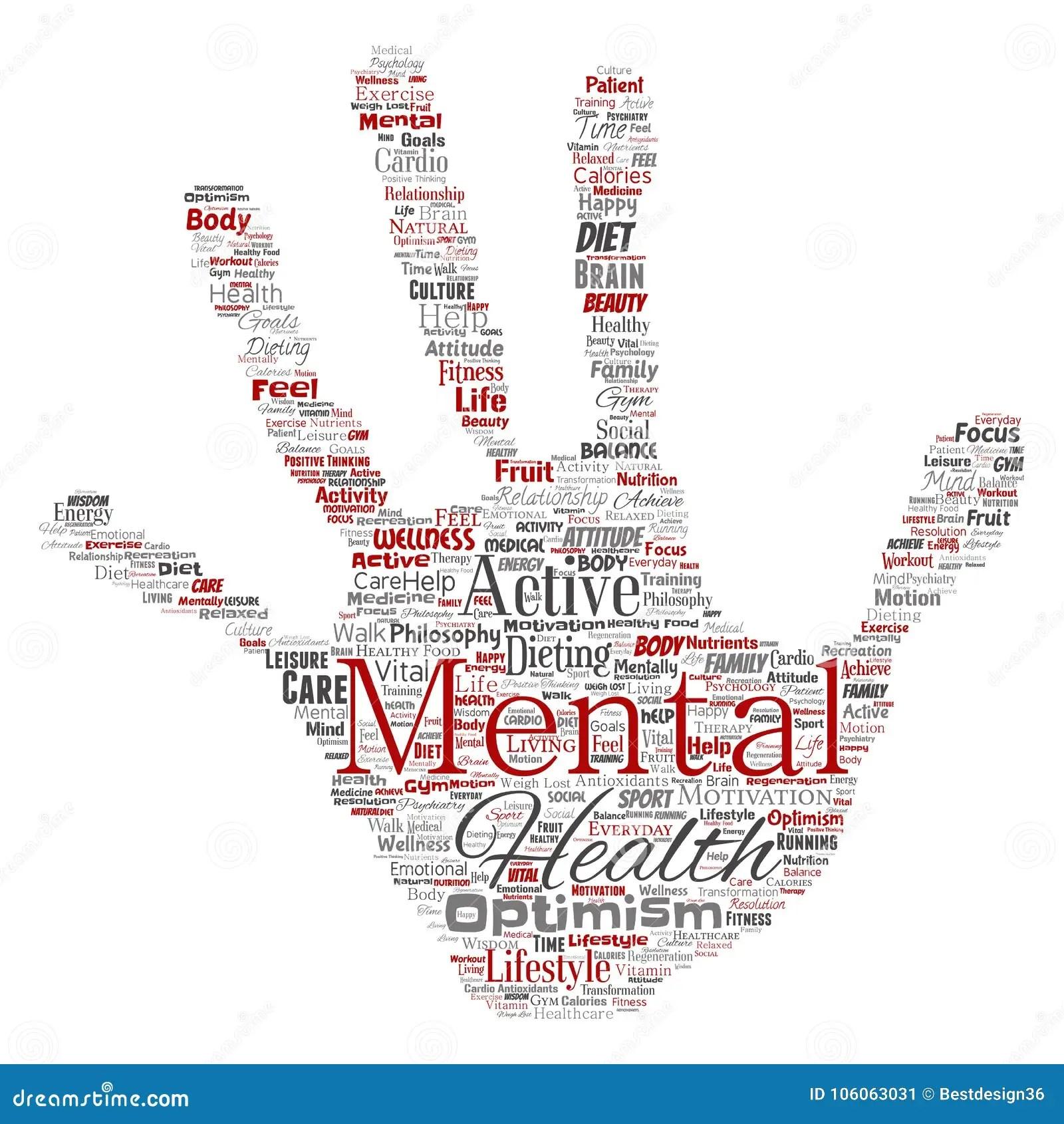 Vector Mental Health Positive Thinking Hand Print Stock