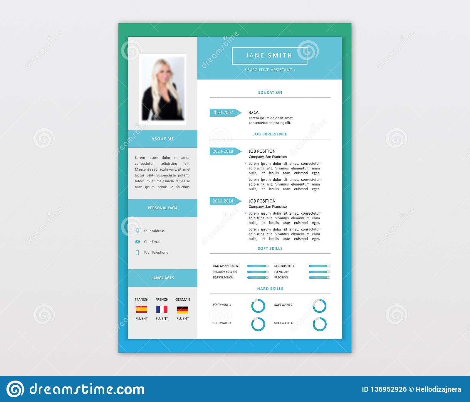 Neat format but stylish and beautiful template design. Vector Minimalist Cv Resume Template Design Stock Vector Illustration Of Infographic Classy 136952926