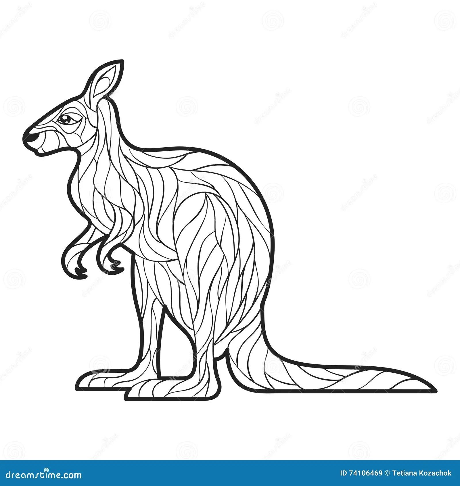 Vector Illustration Adult Kangaroo Vector Illustration