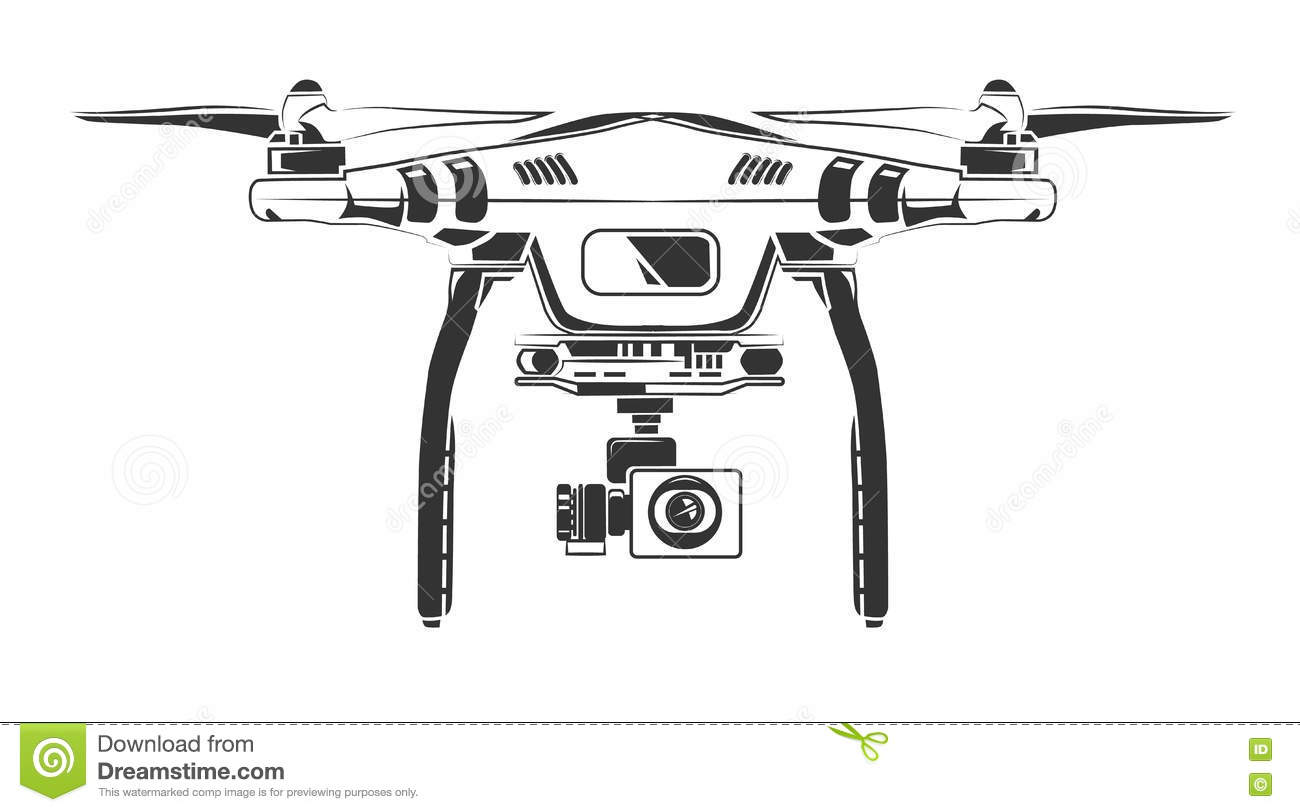 Black Silhouette Drone Quadrocopter, Vector Illustration