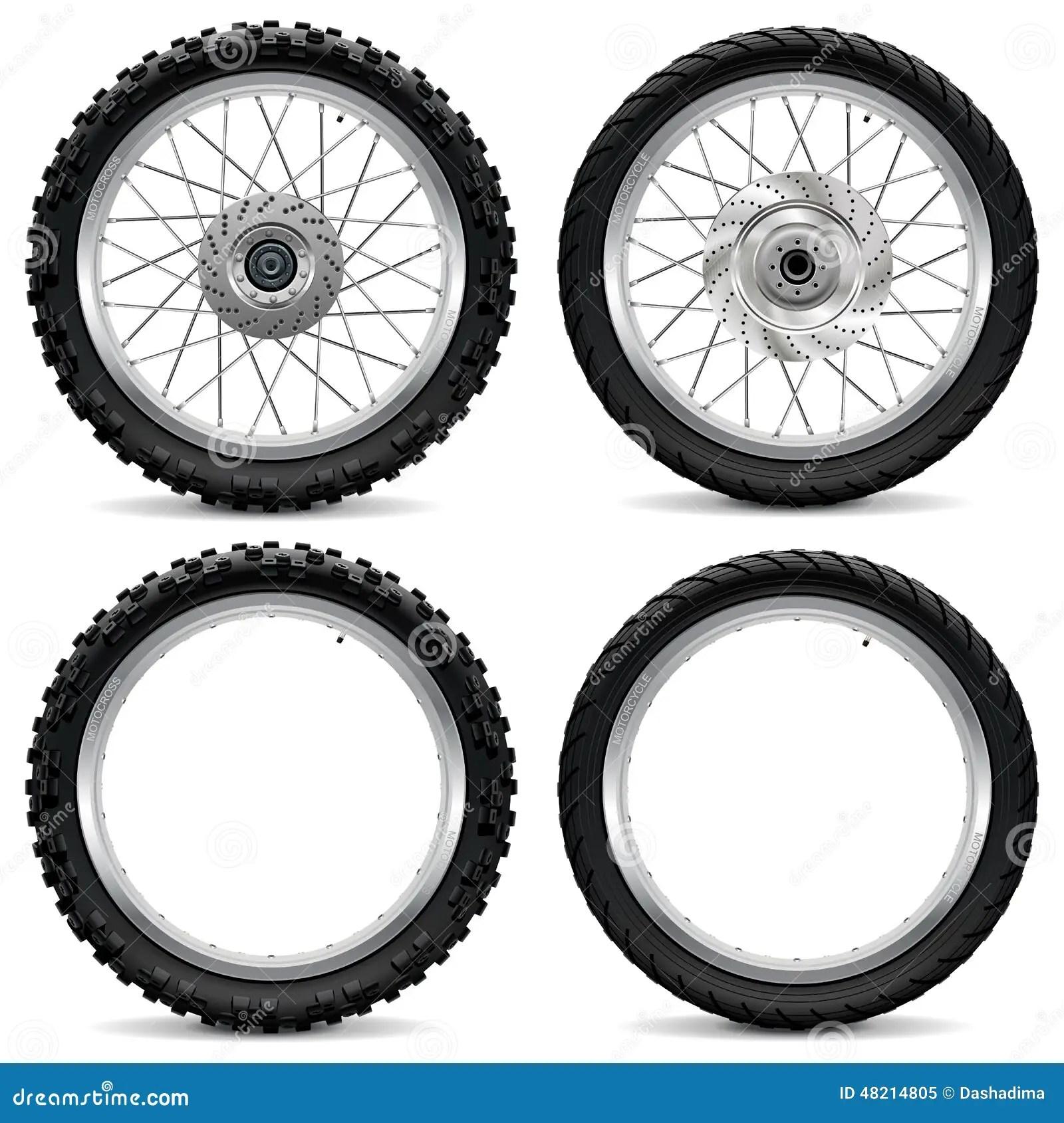 Vector Motorcycle Wheel Icons Stock Vector