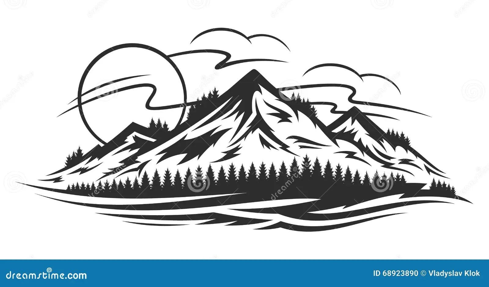 Vector Mountain Sunrise Landscape Royalty-Free Stock Photo