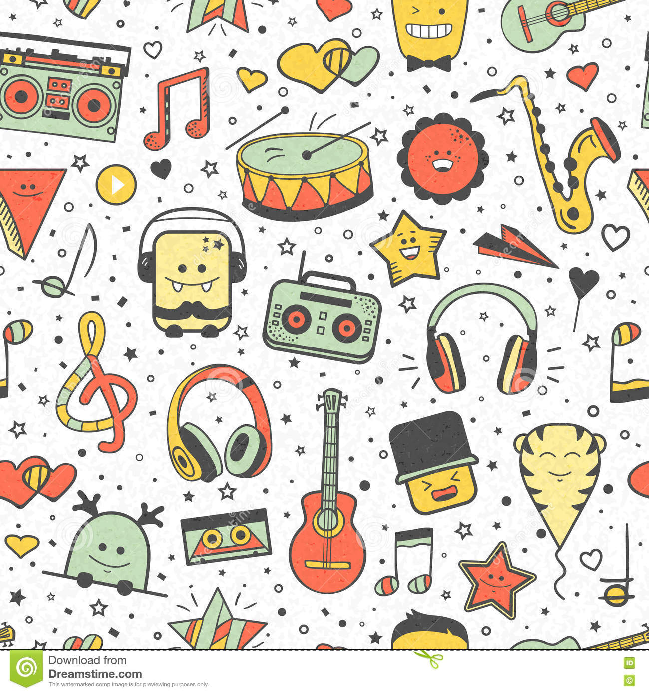 Vector Musical Pattern. Doodle Style. Seamless Music Texture Stock Vector - Illustration of childish. creative: 76294064