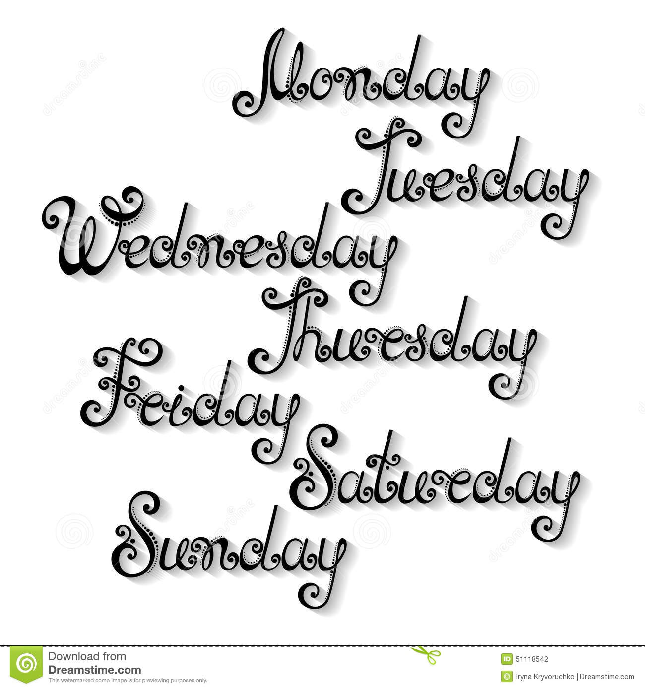 Vector Names Of Days Of The Week Stock Vector