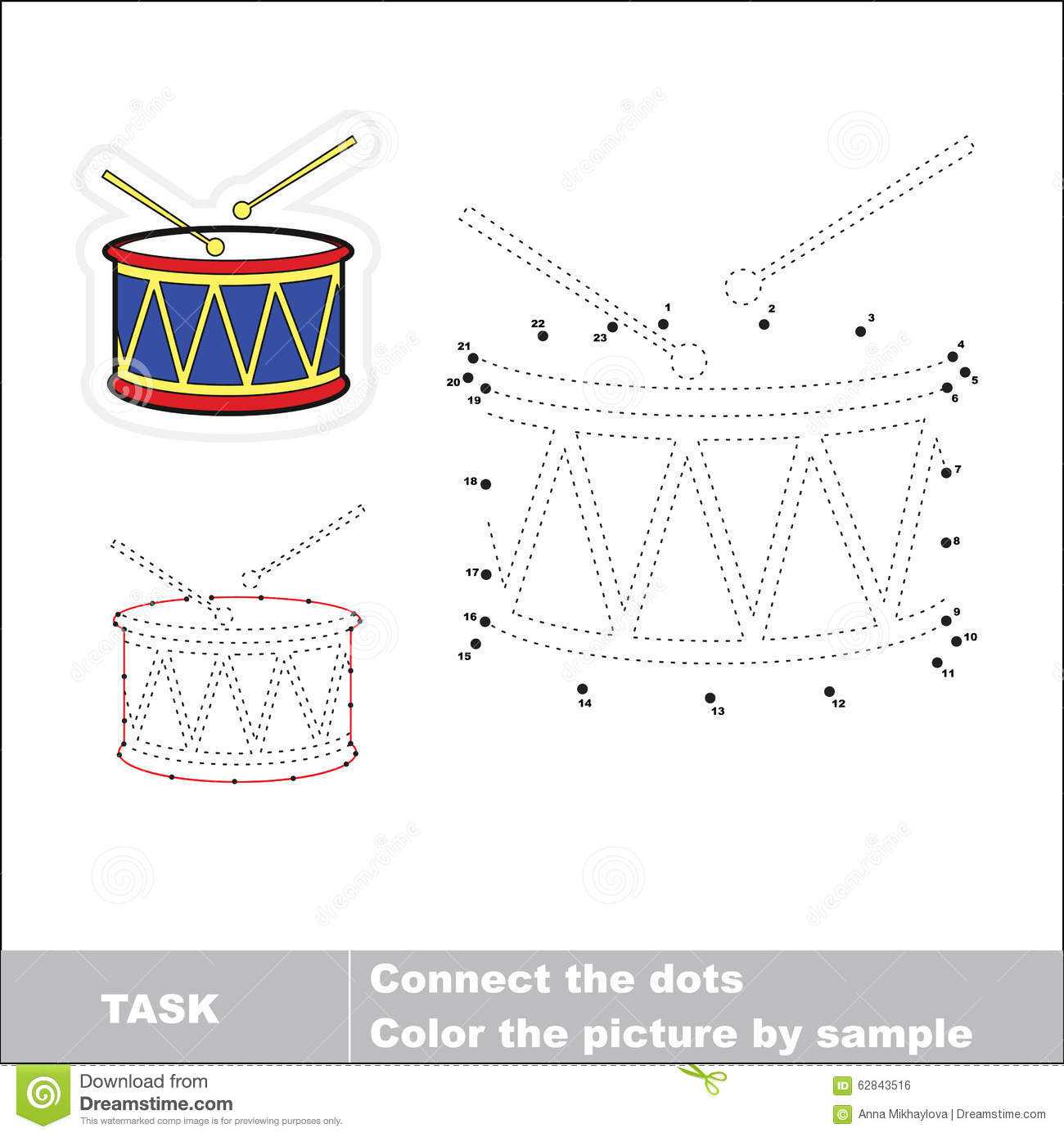 Vector Numbers Game Drum To Be Traced Stock Vector