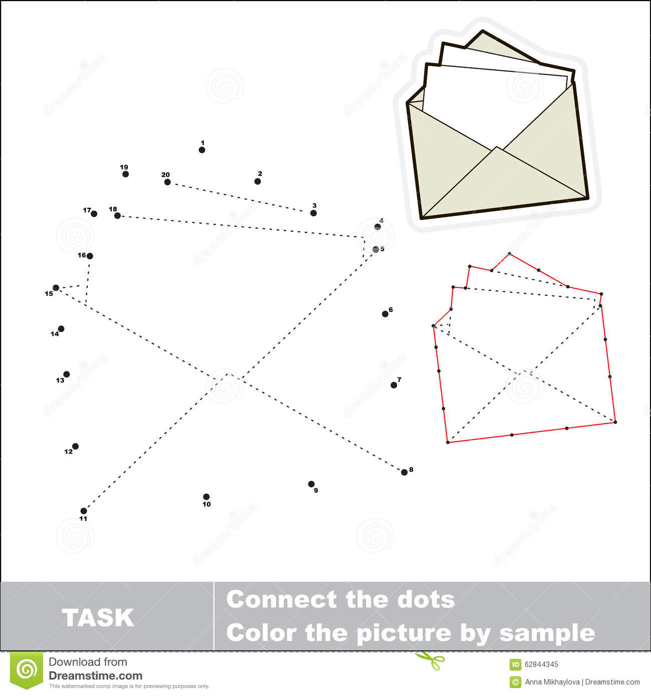 Vector Numbers Game Paper Envelope To Be Traced Stock