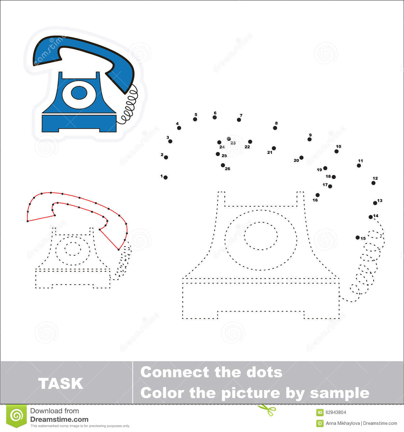 Vector Numbers Game Telephone To Be Traced Stock Vector