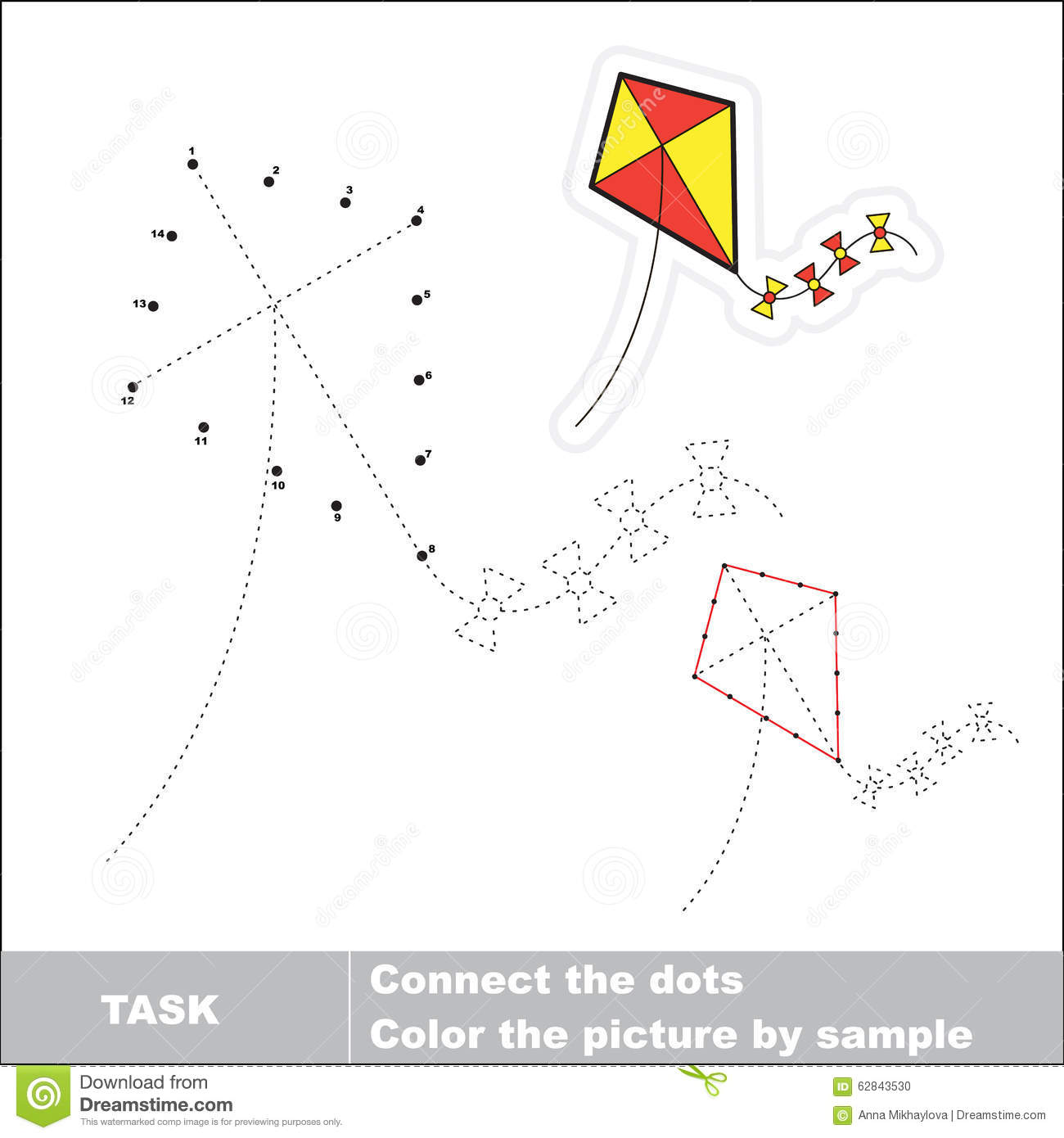 Vector Numbers Game Toy Kite To Be Traced Stock Vector