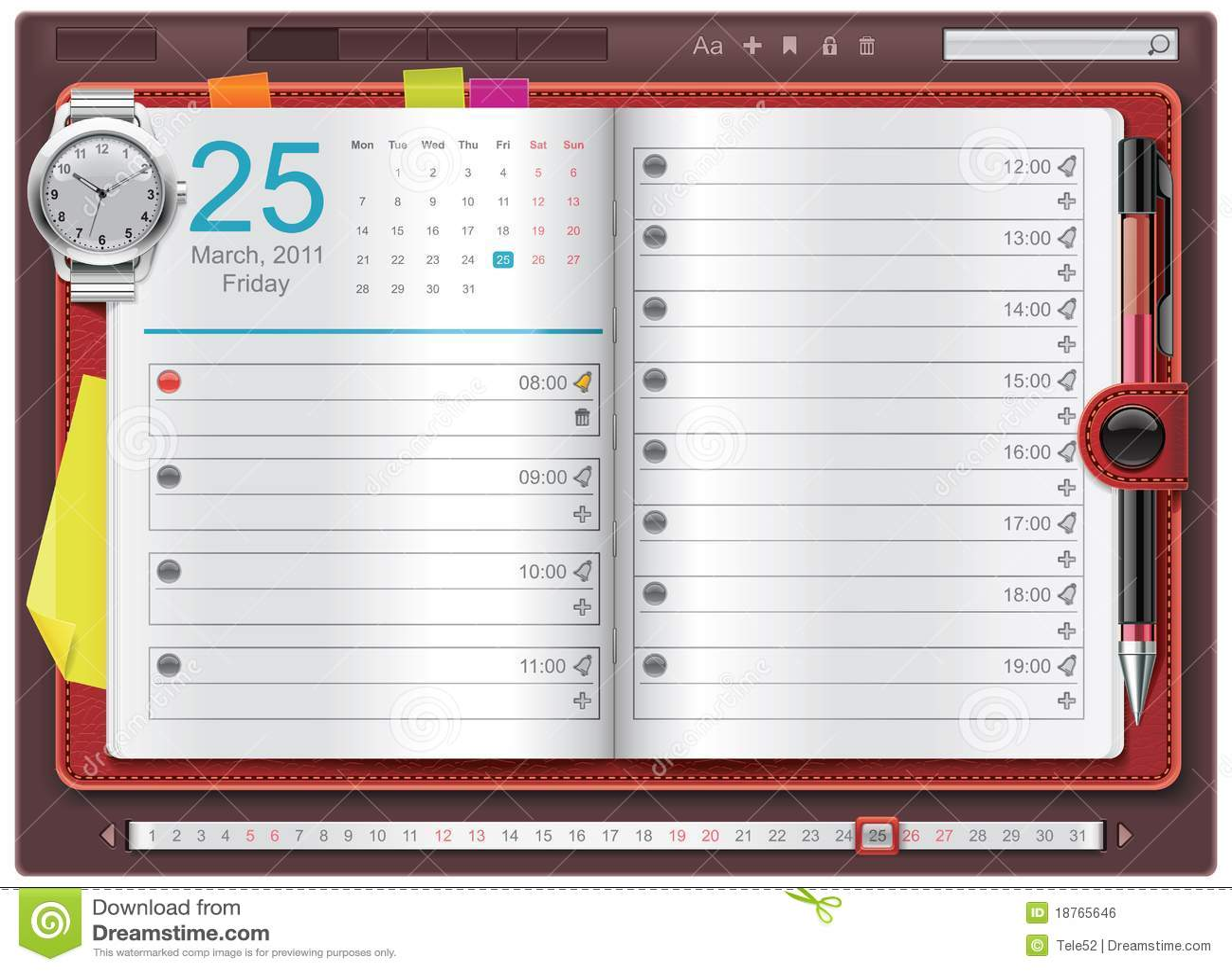 Vector Open Personal Organizer Template Stock Vector
