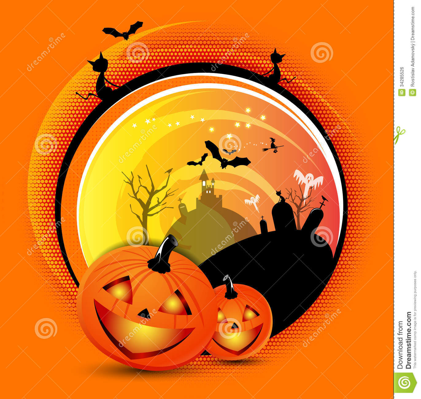 Vector Orange Halloween Spooky Background Royalty Free Stock Image  Image 34285526