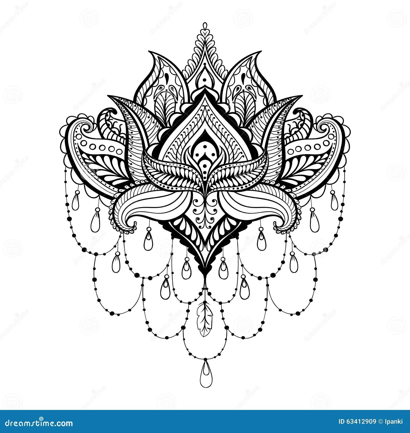 Vector Ornamental Lotus, Ethnic Zentangled Henna Tattoo