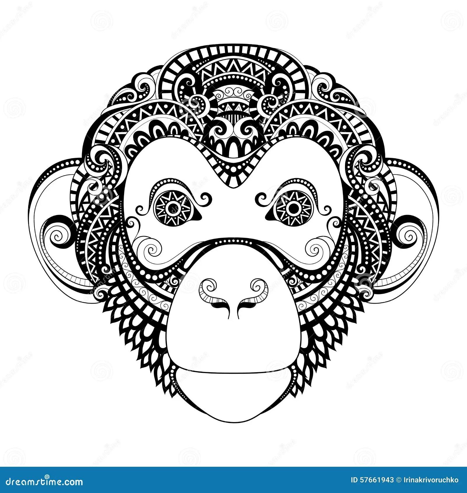 Vector Ornate Monkey Head stock vector. Illustration of