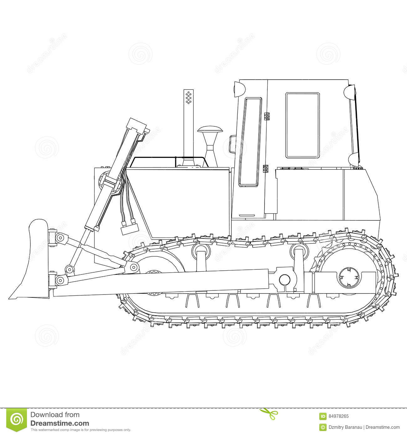 Vector Outline Bulldozer Excavator Grader Heavy Earth