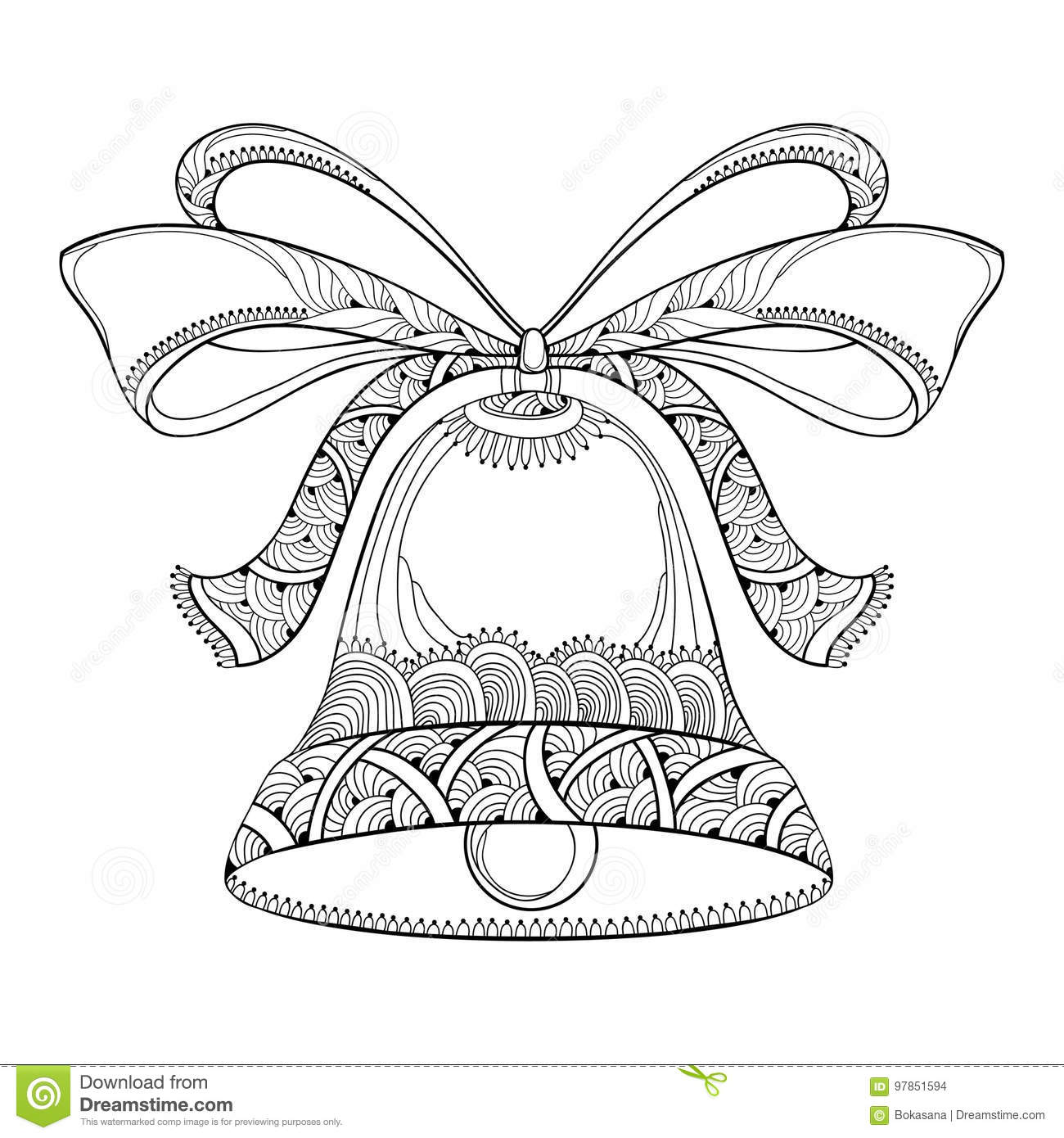 Vector Outline Holiday Bell With Ornate Bow And Ribbon In