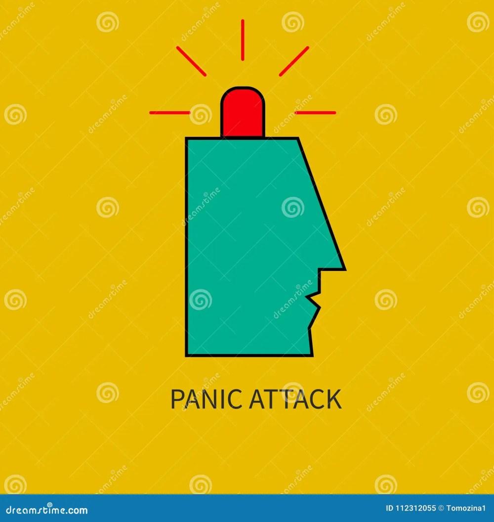 medium resolution of panic attack man with siren in his head vector illustration