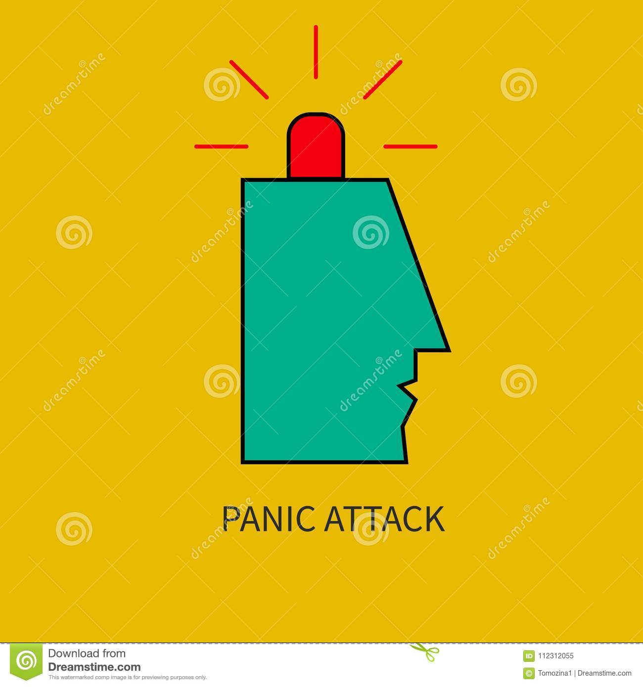 hight resolution of panic attack man with siren in his head vector illustration