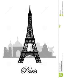 Vector Paris Skyline Silhouette Royalty Free Stock