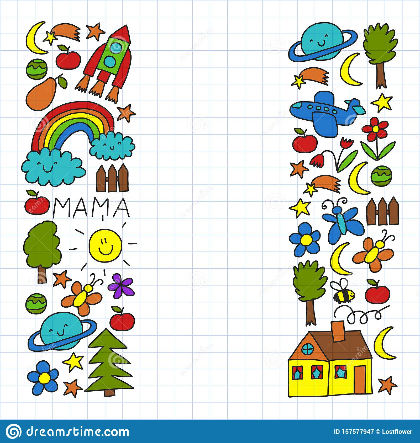Vector Pattern For Kindergarten Banners Posters With Moon