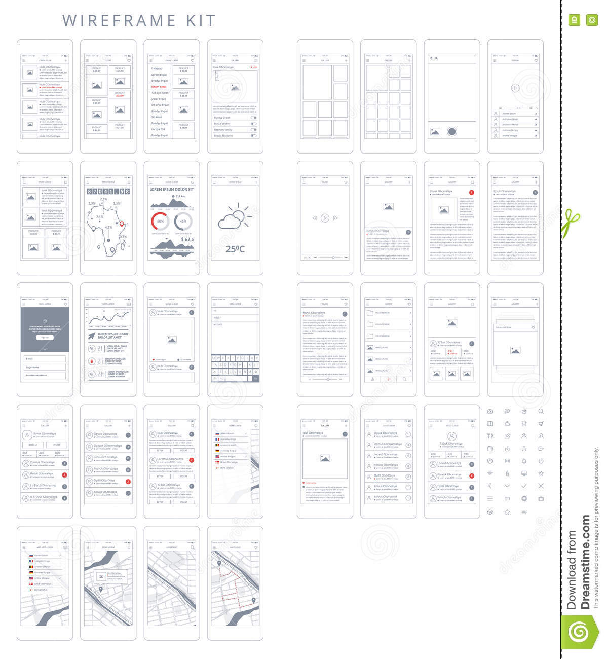 Vector Phone GUI Template. Wireframe UI Kit. Stock Vector