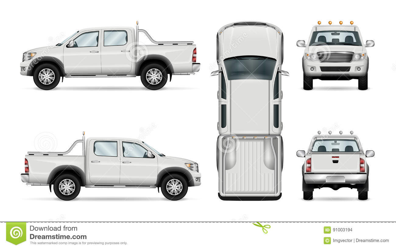 Vector Pickup Truck On White Background Stock Vector