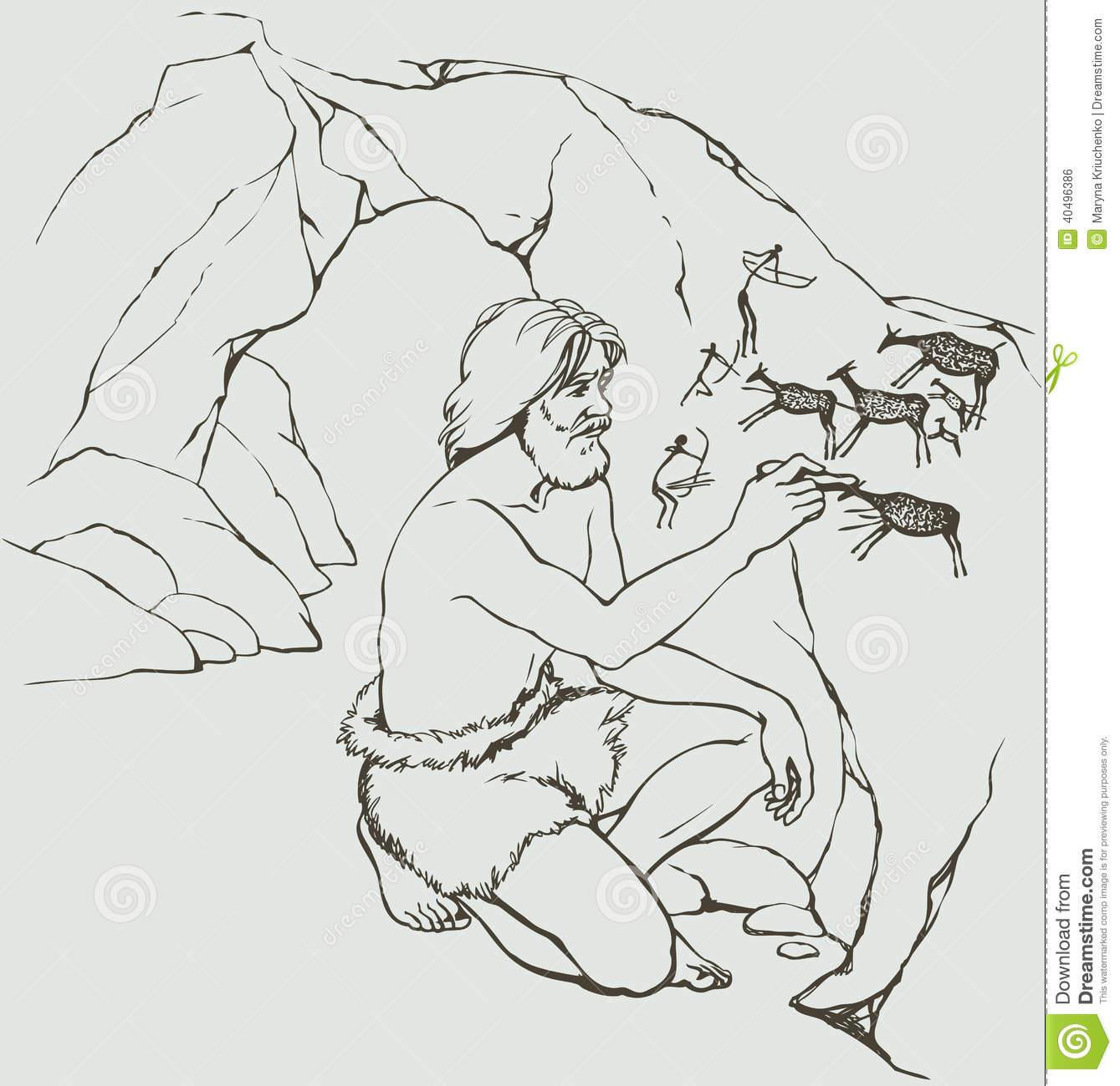 Vector Picture Primitive Man Draws On Stone Wall Of Cave Stock Illustration
