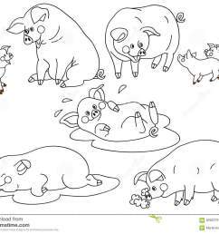 vector black and white cute pigs set pig clipart vector illustration [ 1300 x 1065 Pixel ]