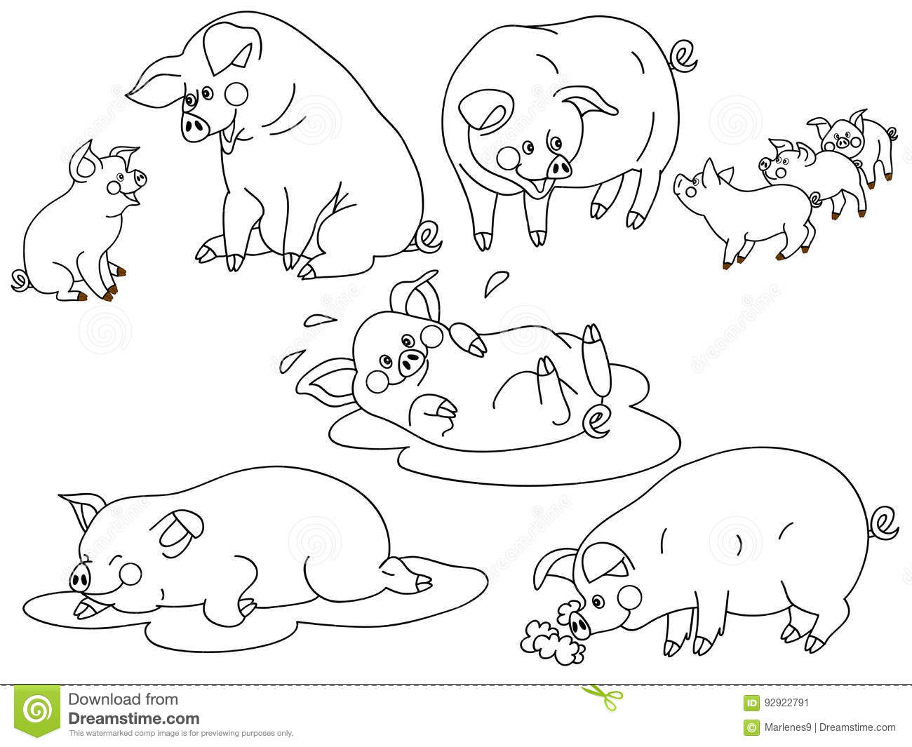 hight resolution of vector black and white cute pigs set pig clipart vector illustration