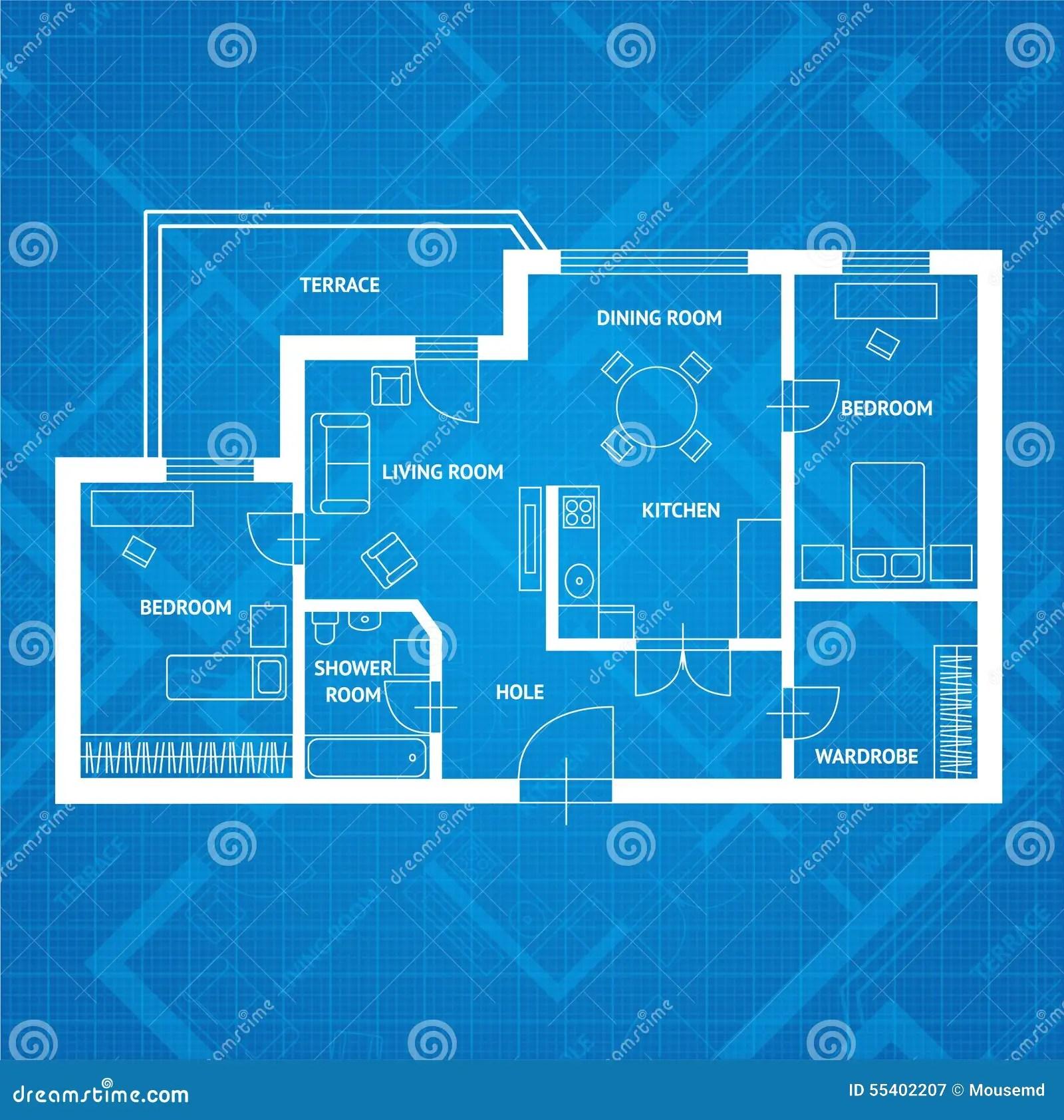 Vector Plan Blue Print Flat Design Stock Vector Image