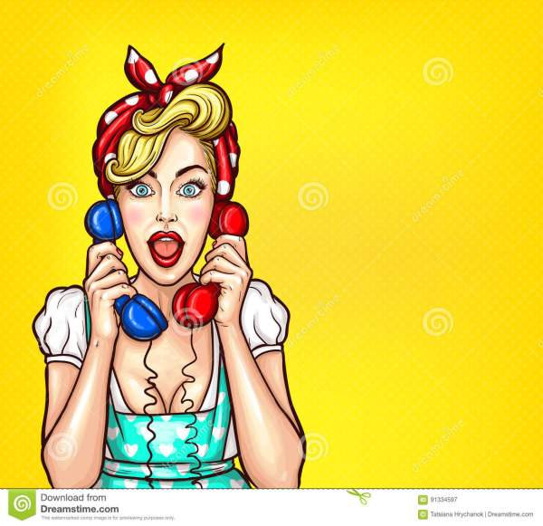 Vector Pop Art Illustration Of Excited Surprised Blond Woman With Two Telephone Receiver In