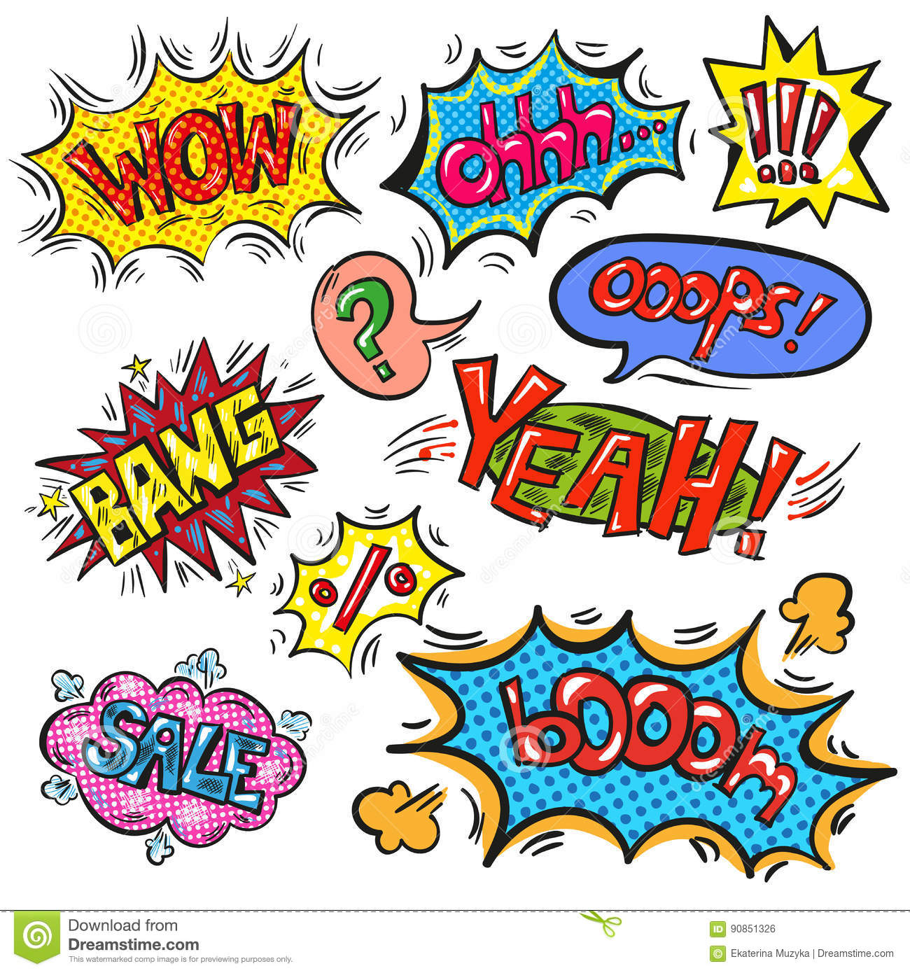 Vector Pop Art Speech Bubble Set With Abbreviations And