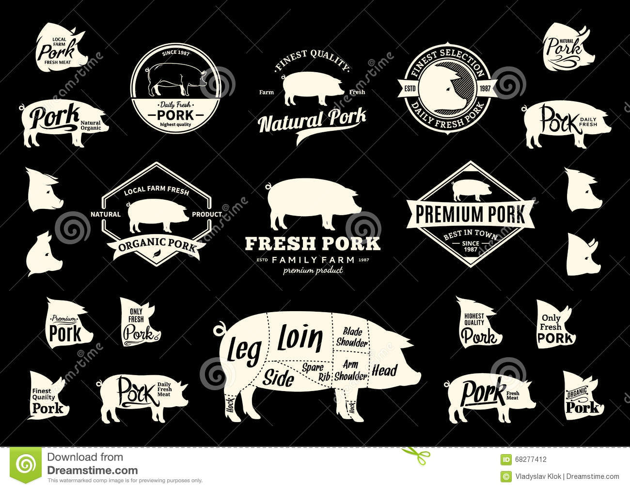hight resolution of vector pork logo icons charts and design elements