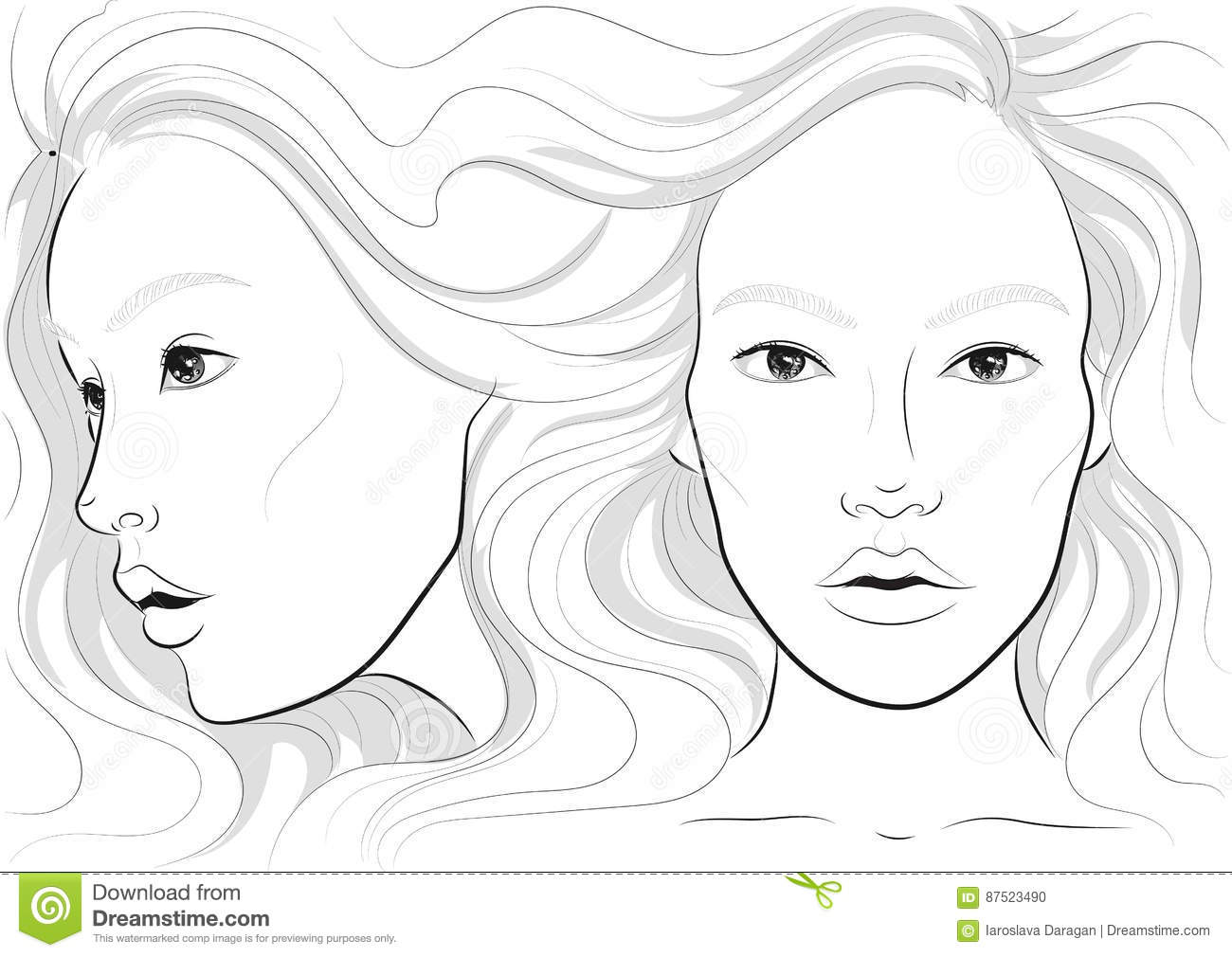 Vector Portrait Of A Woman`s Profile And Full Face With