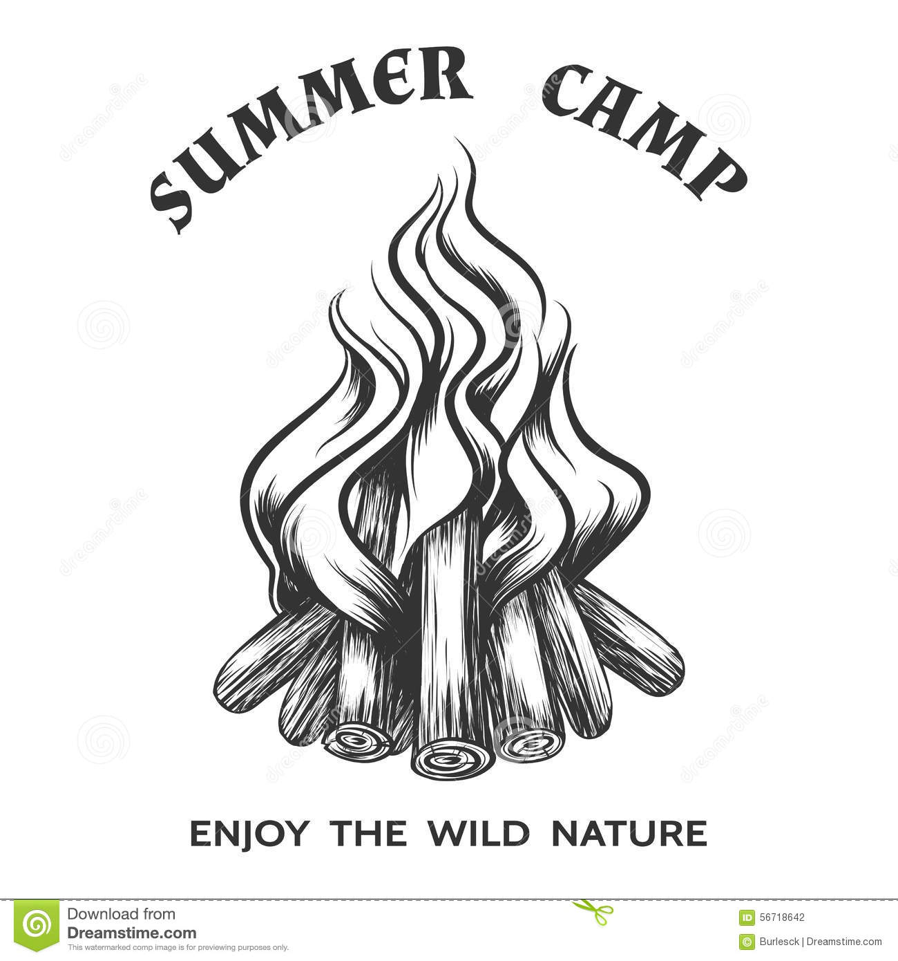 Vector Poster With Hand Drawn Campfire Stock Vector