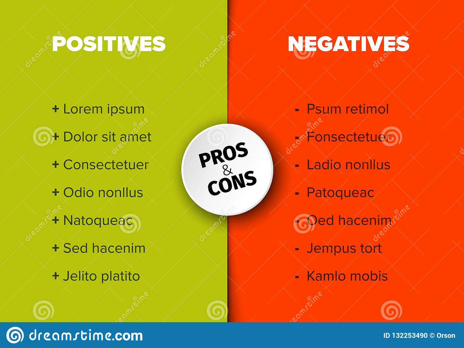 Vector Pros And Cons Compare Template Table Stock Vector
