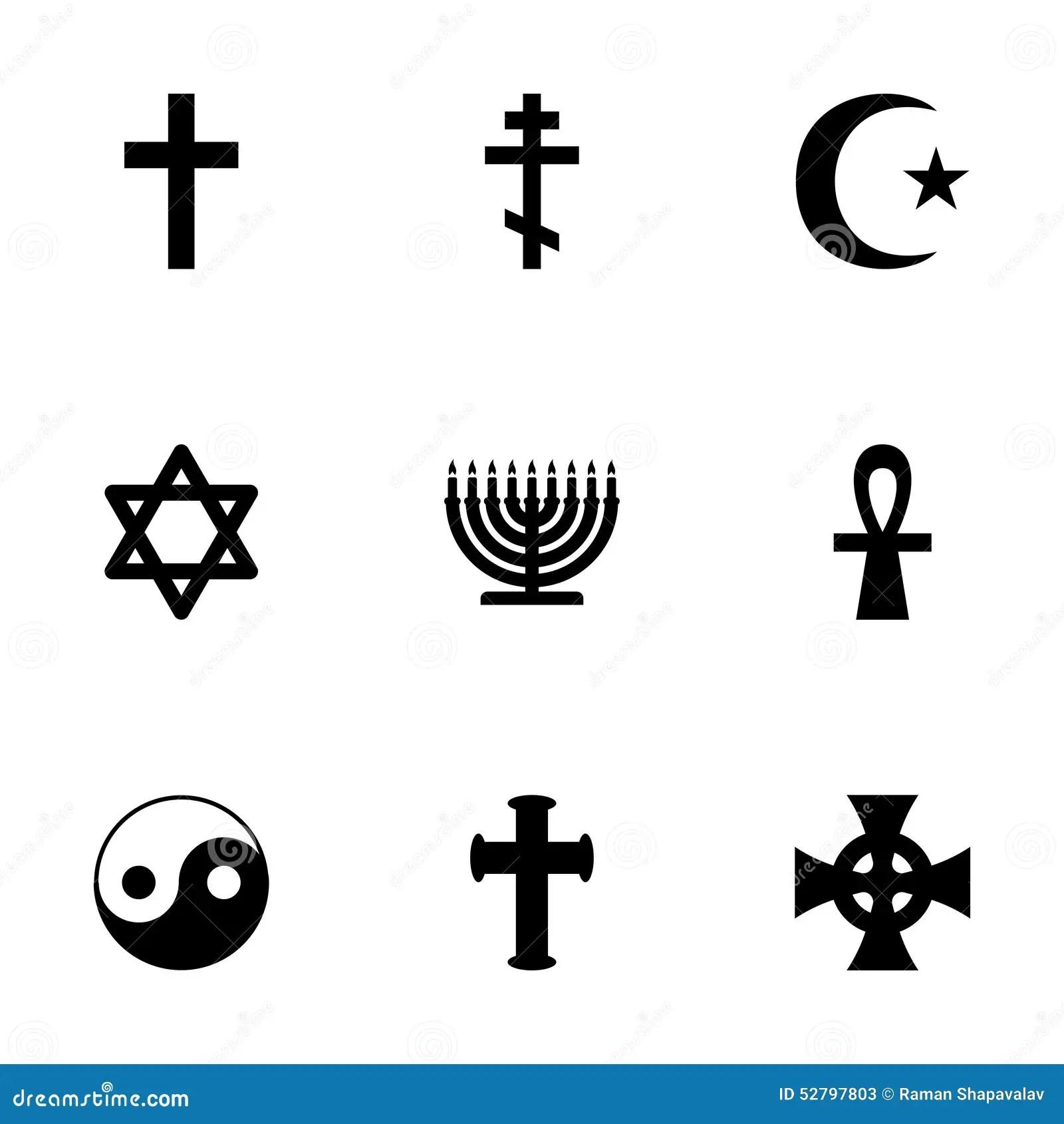 Vector Religious Symbols Icon Set Stock Vector