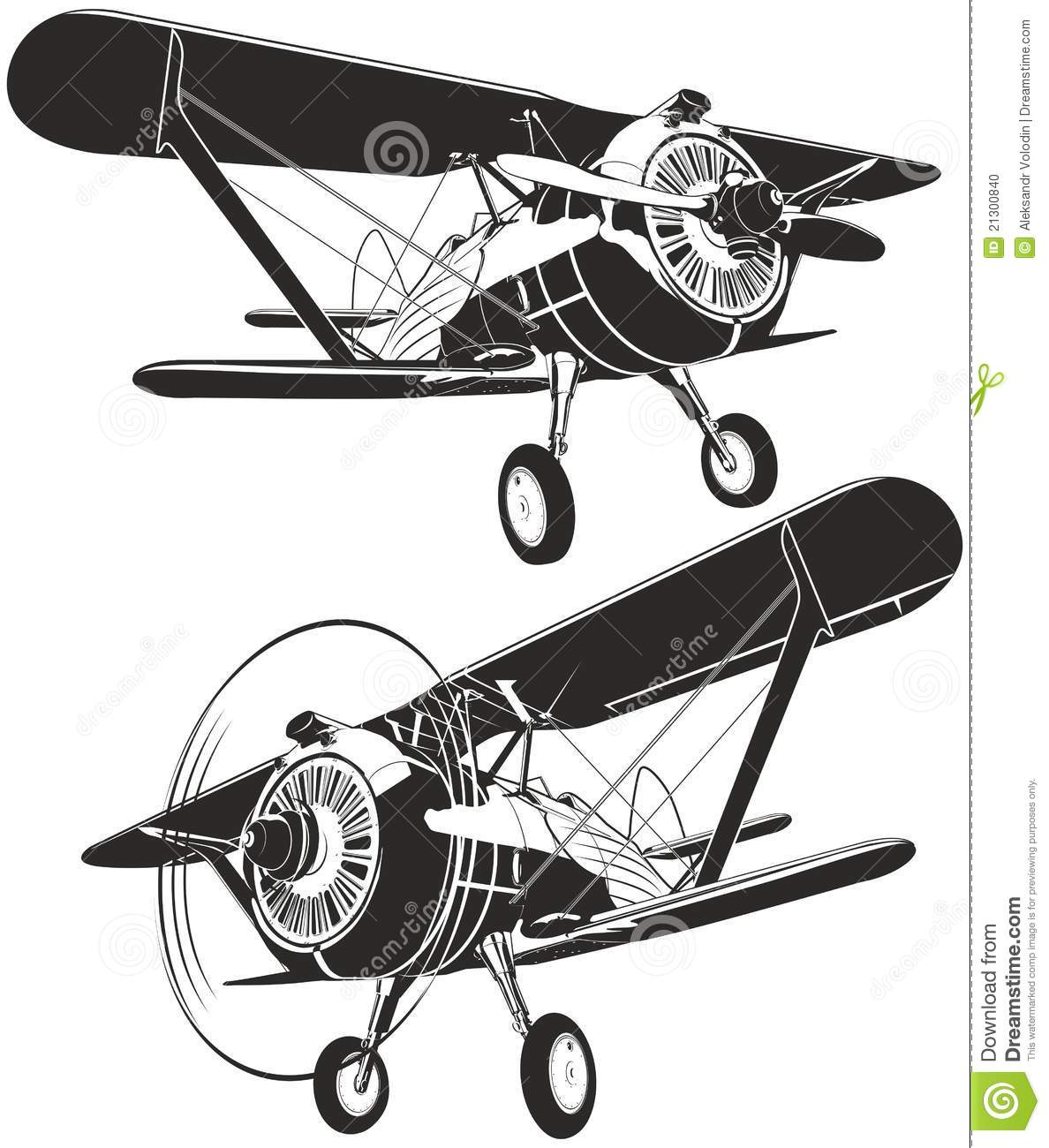 Vector Retro Biplane Stock Photo