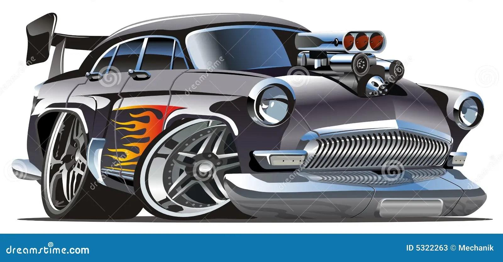 hight resolution of vector retro cartoon hotrod